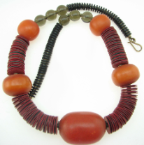 Kenya Beaded Necklace, Orange, Red, Black and Gray