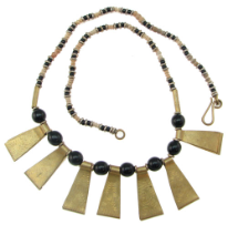 Kenya Wood and Metal Beaded Necklace