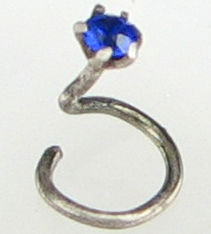 Tiny Indian Nostril Screw, Colored Glass, 21 gauge