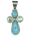 Sterling Silver Pendant set with Larimar and Blue Topaz