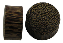 Solid Coconut Wood Saddle Plugs, 7 gauge - 2 inch