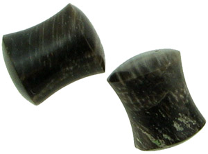 0 gauge Petrified Wood Saddle Plugs