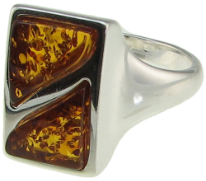 Sterling Silver and Split Rectangle Baltic Amber Ring
