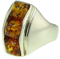 Sterling Silver & Square Baltic Amber Ring
