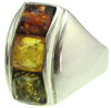 Sterling Silver & Square Multicolor Baltic Amber Ring