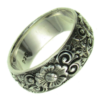 Sterling Silver Wide Flower Ring, size 8