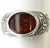Sterling Silver Egyptian Oval Baltic Amber Ring