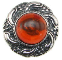 Sterling Silver Baltic Amber Sun Ring