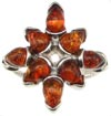 Sterling Silver Baltic Amber Star Ring
