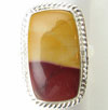 Rectangular Sterling Silver Mookaite Stone Ring, size 6.5
