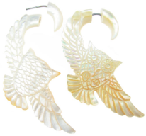 Mother of Pearl Shell Owls Fake Gauge Earrings