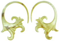 Mother of Pearl Shell Fancy Hook Earrings, 10 - 2 gauge