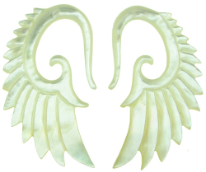 Large Gauge Mother of Pearl Shell Seraphim Wing Earrings