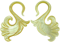 Large Gauge Mother of Pearl Shell Bird Tail S Hook Earrings