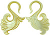 Mother of Pearl Shell Bird Tail S Hook Earrings, 9 gauge