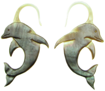 Black Mother of Pearl Shell Dolphin Earrings, 13 gauge
