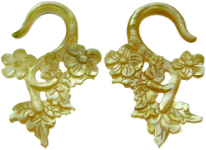 Mother of Pearl Floral Hook Earrings, 6 gauge - 14 gauge