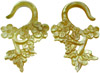 Mother of Pearl Floral Hook Earrings, 6 gauge through 14 gauge (pair)
