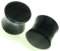 Large Gauge Obsidian Stone Saddle Plugs, Flat Ends