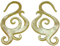Mother of Pearl Swirly S Hook Earrings, 6 gauge - 14 gauge
