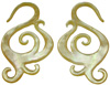 Mother of Pearl Swirly S Hook Earrings, 8 gauge through 13 gauge (pair)