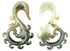 0 Gauge Fancy Black Shell Hook Earrings