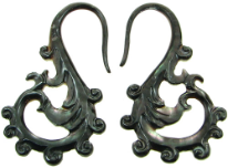 Large Gauge Fancy Black Shell Hook Earrings