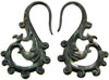 Fancy Black Shell Hook Earrings, 13 gauge