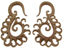 Large Gauge Sawo Wood Tiga Spiral Earrings