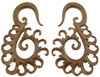 Sawo Wood Tiga Spiral Earrings, 2 gauge