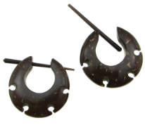 Thorn Style Coconut Earrings, Discus Holy Hoops