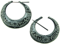 Thorn Style Horn Hoop Earrings, White Tattoo Designs