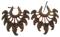 Thorn Style Sawo Wood Fancy Plumeria Earrings