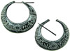 Thorn Style Horn Large Hoop Earrings with White Tattoo Designs