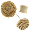 Tamarind Wood Carved Flower Fake Gauge Earrings