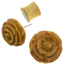 Wood Carved Flower Fake Gauge Earrings