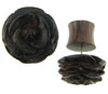 Ebony Wood Carved Flower Fake Gauge Earrings