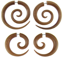 Sawo Wood Fake Gauge Spiral Earrings