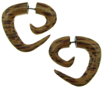 Coconut Wood Fake Gauge Triangular Spiral Earrings
