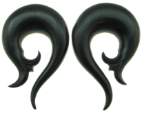 Ebony Wood Sprouting Spiral Gauge Earrings