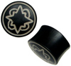 Areng Wood Saddle Plugs Painted with Geometric Stars, 4 gauge to 1 inch diameter (pair)