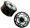 Palm Wood Saddle Plugs with Bone Inlay and Painted Lotus, 1-1/8 inch diameter (pair)