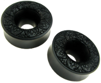 "Hollow Ebony Wood Saddle Carved Design Plugs, 1-3/4"" or 2"""
