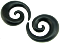Areng Wood Spiral Earrings, 7 gauge - 1-1/4 inch