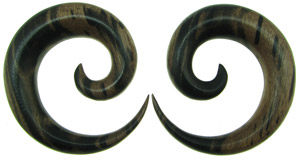 Areng Wood Round Spiral Earrings, 7 gauge