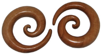 Huge Sawo Wood Spiral Gauge Earrings