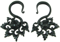 Large Gauge Ebony Wood Hanging Floral Hook Earrings