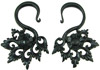 Areng Wood Hanging Floral Hook Earrings, 3 gauge