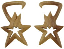 Large Gauge Sawo Wood Hanging Bintang Star Earrings