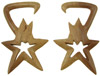 Sawo Wood Hanging Bintang Star Earrings, 4 gauge